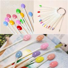 100Pcs Nail Art False Tips Display Spoon Wheel Polish Practice Color Pop Stick