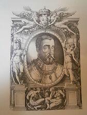 Planche gravure Moyen age Nicolas Béatrizet Portrait de Henri II 1556