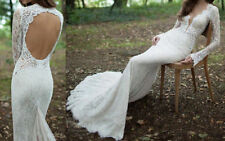 A-line Lace Long Sleeve V Neck Wedding Dresses