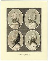 Physiognomische Studien, Orig. Radierung v. Jacob Sturm um 1800