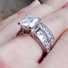 Newshe Wedding Band Engagement Ring Set Princess Cz 925 Sterling Silver Size 7