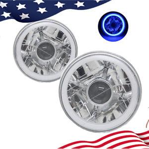 "5-3/4""Inch Round LED Blue Halo Chrome Clear Projector Headlights Angel Eye"