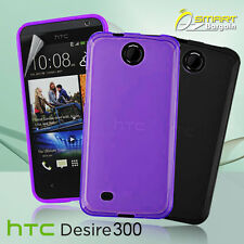 Matte Gel Case For HTC Desire 300 + Screen Guard TPU Jelly Skin Soft Cover