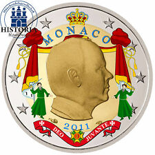 Monaco 2 Euro Gedenkmünze 2011 stgl. Fürst Albert II in Farbe