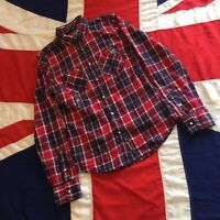 WOMENS SUPERDRY NEW RED CHECK LONG SLEEVE SHIRT XS