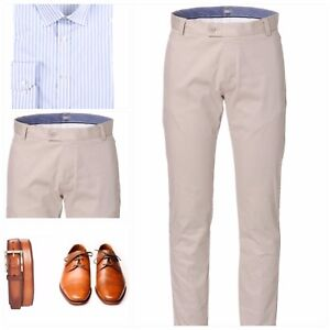 NEW Mens Slim Fit Cotton Stretch Chino Pant Smart Casual Business Trousers STONE