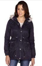 Womens Lipsy Faux Fur Stone Encrusted Parka Jacket Coat Navy UK 8 Hooded