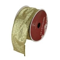 """Shimmering Metallic Gold Ribbed Wired Craft Ribbon 2.5"""" x 10 Yards"""