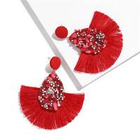 Hot Ethnic Bohemia Drop Earrings Biscuits Round Resin Tassel Earrings Women ##