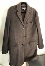 Mens Kenneth Cole Brown Peacoat long Size Medium 90% wool Winter Warm