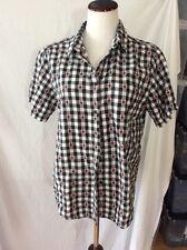 Short Sleeve Black & White Checks w/Ladybugs Blouse ~ Measures to Large ~No Tags