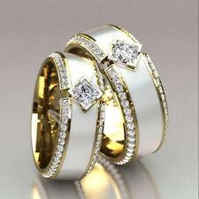 Luxury Unisex 18K Gold Jewelry Ring White Enamel Band Diamond Wedding Band Rings