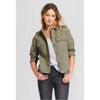 Universal Thread Womens Utility Military Jacket Olive Green Epaulettes NWT