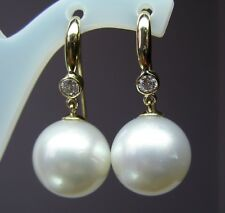 14.7mm!! SOUTH SEA PEARLS UNTREATED +DIAMONDS+18ct SOLID YELLOW GOLD EARRINGS
