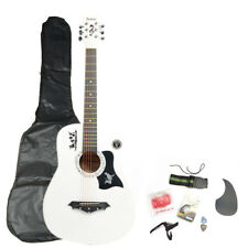 """New 38"""" Beginner 18 Frets Basswood Acoustic Guitar w/ Bag & Accessories White"""