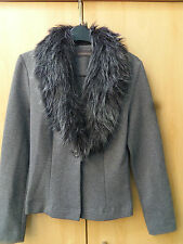 RIVER ISLAND LADIES FAUX FUR COLLARED GREY  JACKET UK SIZE 10....FAST POST