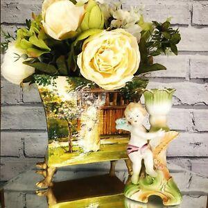 Vintage French Victorian Vase Planter 1999 Elegant Peony Floral Arrangement