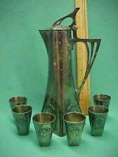 Antique WMF Vintage Art Nouveau Claret Jug & 6 Cups Silverplate Germany