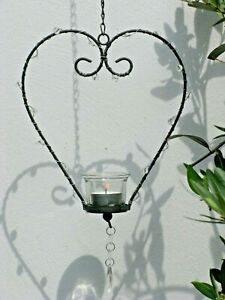 Hanging Heart T Light Metal and Glass