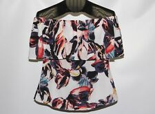 New bar III Women's Size Small Multi Color Ruffled Off The Shoulder Top