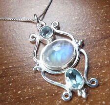 Faceted Blue Topaz Moonstone Pendant 925 Sterling Silver Corona Sun Jewelry c83m