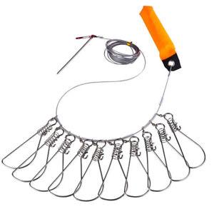 MultiSize Stainless Steel Fishing Stringer Clip Fish Stringer Lock Float Orange