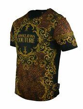 New Mens Versace Jeans Couture T-Shirt Leopard Print Baroque Black Yellow Size M
