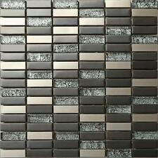 1 SQ M Brushed Steel Metallic Black Hong Kong Glass Mosaic Wall Tiles 0102