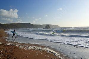 Widemouth Bay Surfers Cornwall Photo Art Print Canvas (UK)