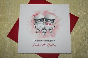 Handmade Personalised Stormtroopers Star Wars Wedding Anniversary EngagementCard