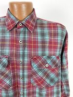 Vintage 80s Plaid Work Shirt Men's Large Red Yellow Teal Long Sleeve Button-Down