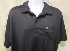 Travis Mathew Mens 3XL Polo Golf Shirt Black Logo On Sleeve Cotton Poly Blend