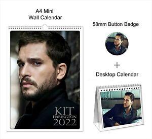 Kit Harington 2022 A4 Wall + Desktop Calendar + Pin Button Badge