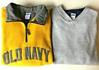 Lot Of 2 VINTAGE 90's Old Navy Fleece Pullover Men's Size XL Yellow Blue Gray