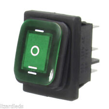 Waterproof 3-Position Rocker Switch Green LED ON/OFF/ON 6-Pin DPDT AC 10A/250V