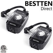 2PK BESTTEN Outdoor 24-Hour Outlet Timer 6-Inch Heavy Duty Cord ETL Black