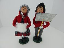 Byers Choice Carolers 1995 Boy & Girl with Muff and Shovel Very Good Condition