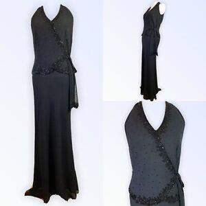 JMD NEW YORK UK 10 Dress Long Beaded Wrap Front Floaty Hem Chiffon Formal US6
