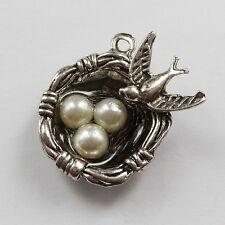 Free Ship 50pcs tibetan silver bird's-nest charms 24x20mm