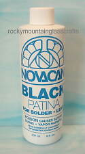 8 Ounce PATINA FOR STAINED GLASS Novacan BLACK for Solder Lead CHEMICALS ORMD