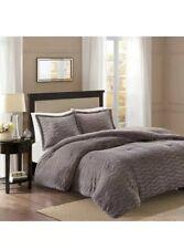 New King/Cal King Sloan Plush Down Comforter Faux Fur Grey Madison Park
