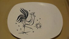 "HARMONY HOUSE MID CENTURY ROOSTER OVAL SERVING PLATTER WHITE 13 1/2"" X 11 1/4"""