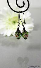 Glass Jewels Bronze Ohrringe Ohrhänger Vintage Grüne Perlen Lampwork Blume #I002