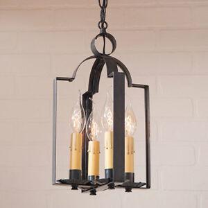 4 Light Saddle Hanging Light in Kettle Black Tin