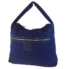 Authentic CHANEL CC Coco Cocoon Shoulder Bag Leather Nylon Navy Blue 64EB941