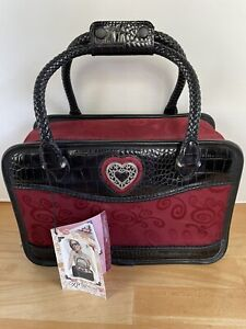 BRIGHTON Ruby Red Jacquard Black Croco Leather Cosmetic Travel Carry On Bag