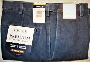 Haggar Classic-Fit Premium Stretch Flat-Front Jeans Expandable Waist $70 (H-8)