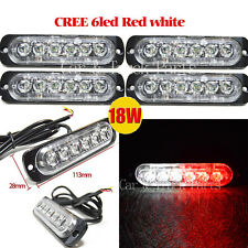 4XCREE 6LED 18W Red/White Super Bright Emergency Hazard Warning Strobe Light Bar