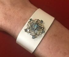 Handmade White Leather Cuff With Blue Rhinestone And Silver Vintage Pin/Brooch