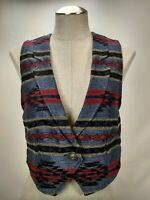 Vintage Roughrider Circle T Western Cowgirl Vest Womens Size XS USA Cotton Twill